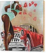 Pin Up Girl Wood Print