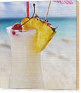 Pina Colada Cocktail On The Beach Wood Print