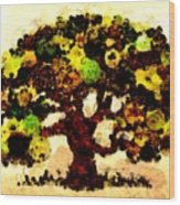 Pinatamiche Tree Painting In Crackle Paint Wood Print