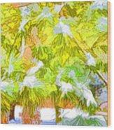 Pine Branch Under Snow Wood Print