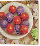 Pine Cone Flower Project Wood Print