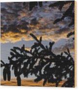 Pine Cone Sunset Wood Print