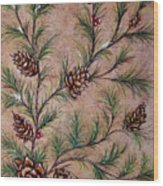 Pine Cones And Spruce Branches Wood Print