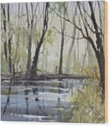 Pine River Reflections Wood Print