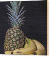 Pineapple And Bananas Wood Print