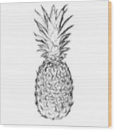 Pineapple Black And White Wood Print