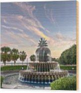 Pineapple Fountain Sunset - Charleston Sc Wood Print by Drew Castelhano