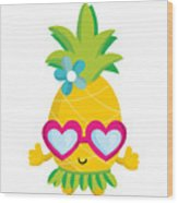 Pineapple Hula Wood Print