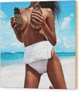 Pineapples Portrait Wood Print