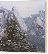 Pines And Flatirons Boulder Colorado Wood Print
