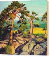 Pines On The Rocks Wood Print