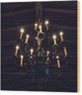 Pinewood Estate Chandelier Wood Print