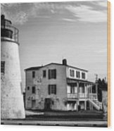 Piney Point Lighthouse - Mayland - Black And White Wood Print
