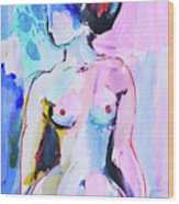 Pink Abstract Nude Wood Print