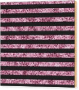 Pink And Black Glitter Sequin Stripes Wood Print