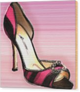 Pink And Black Stripe Shoe Wood Print