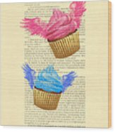 Pink And Blue Cupcakes Vintage Dictionary Art Wood Print