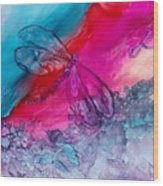 Pink And Blue Dragonflies Wood Print
