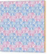 Pink And Blue Elephant Pattern Wood Print