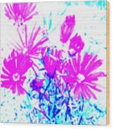 Pink And Blues Wood Print
