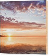 Pink And Gold Morning Zen - Toronto Skyline Impressions Wood Print
