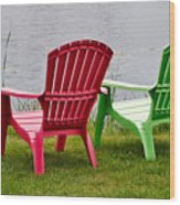 Pink And Green Lounging Chairs By The Lake Wood Print by Louise Heusinkveld