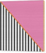 Pink And Orange And Black Geometric Wood Print
