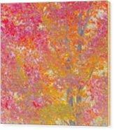 Pink And Orange Autumn Wood Print