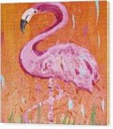 Pink And Orange Flamingo  Wood Print
