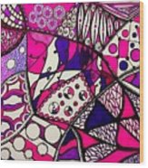 Pink And Purple Abstract Wood Print