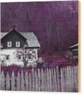 Pink And Purple Enchanted Cottage Wood Print