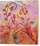 Pink And Purple Flower Medley Wood Print