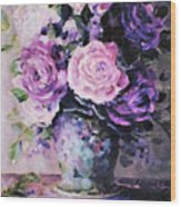 Pink And Purple Roses Wood Print