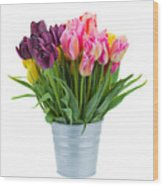 Pink And Violet  Tulips Wood Print