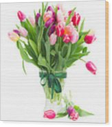 Pink And Violet Tulips Bouquet  Wood Print