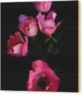 Pink And White Flowers On Black Wood Print