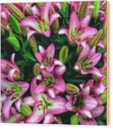 Pink And White Lilies Wood Print