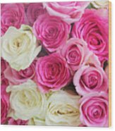Pink And White Roses Bunch Wood Print