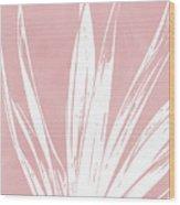 Pink And White Tropical Leaf- Art By Linda Woods Wood Print