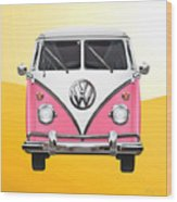 Pink And White Volkswagen T 1 Samba Bus On Yellow Wood Print by Serge Averbukh