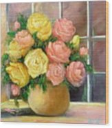 Pink And Yellow Roses Wood Print