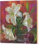 Pink Angel White Lilies Wood Print