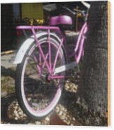Pink Bicycle Wood Print