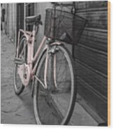 Pink Bicycle In Rome Wood Print