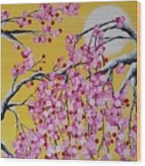 Pink Blossoms / Yellow Skies Wood Print