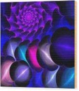 Pink Blue Bubbles Wood Print