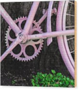 Pink Bycycle Resting On A Tree Wood Print