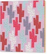 Pink Cactus Pattern Wood Print