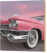 Pink Cadillac Sunset Wood Print