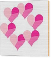 Pink Candy Hearts Wood Print